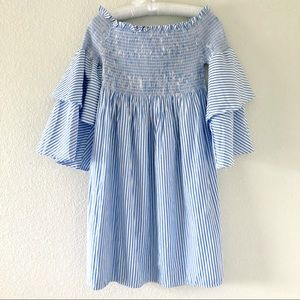 Blue and White Striped Dress Ruffled Sleeves Small